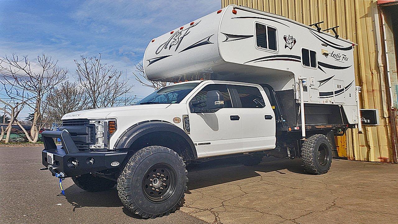 Monster F550 6 7l Turbo Diesel Flat Bed W Arctic Fox Truck Camper Youtube