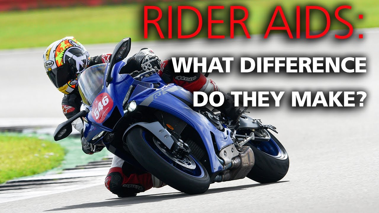 What difference do rider aids make on a motorcycle on track?