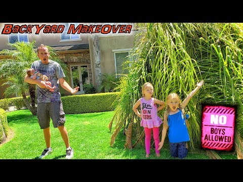 Giant Backyard Palm Tree Fort! GIRLS ONLY! No BOYS Allowed! SORRY Baby Brother! |
