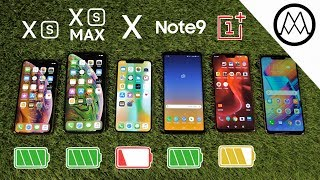 iPhone XS / XS Max vs Galaxy Note 9 vs iPhone X Battery Life DRAIN TEST