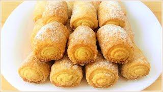 """Простой рецепт вкусного печенья!  Печенье """"Сахарные трубочки"""""""
