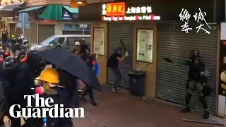 Protester shot in the chest during Hong Kong clashes