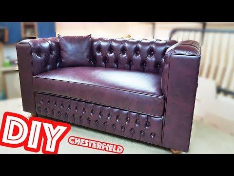 Диван с каретной стяжкой Честерфилд , своими руками , Capitone sofá Chesterfield DIY