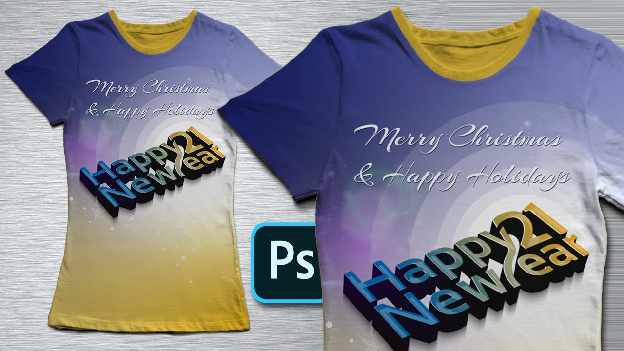 Christmas, New Year Holidays T-Shirt Design in Photoshop - YouTube