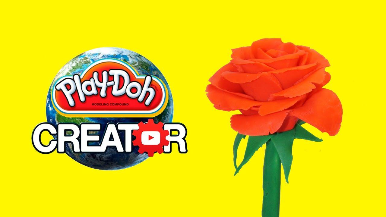 Playdoh Rose Flower Easy Craft Diy Playdough Tutorial Creative And