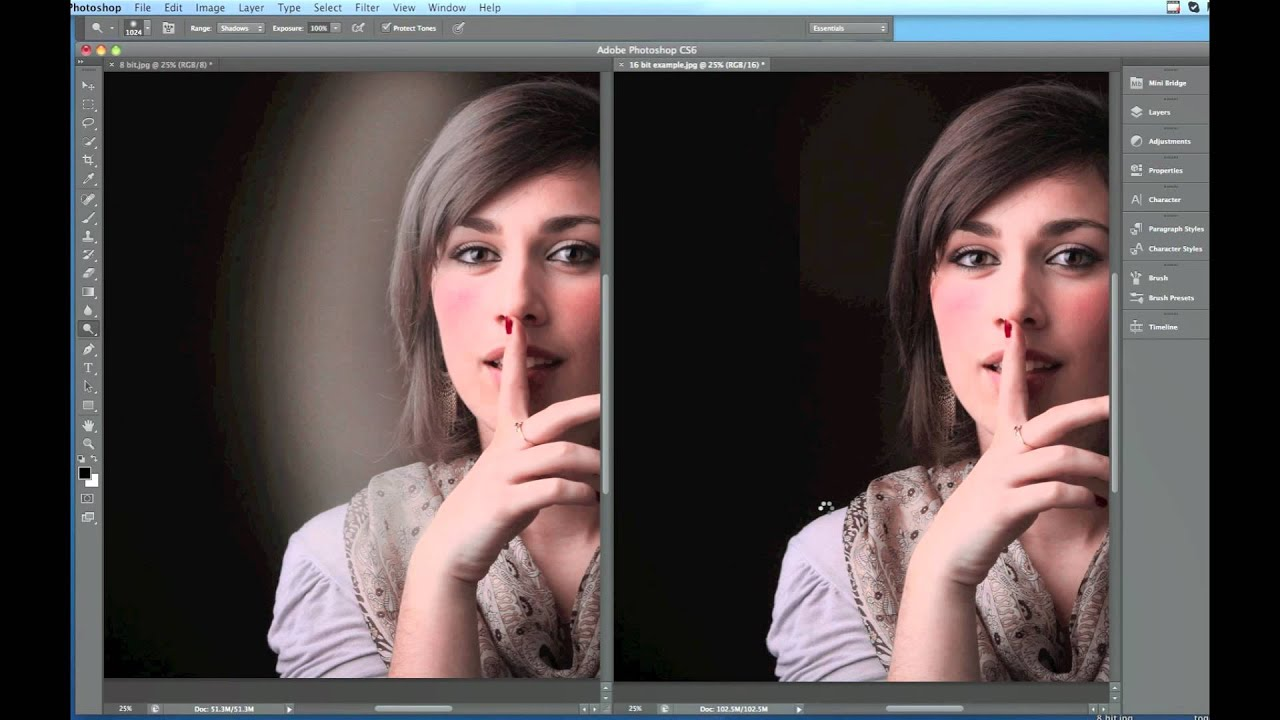8 or 16 bit for retouching. - YouTube