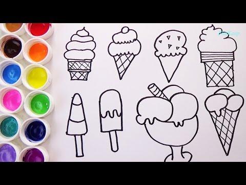 Como Dibujar Y Colorear Helados - Aprende Los Colores Pintando - Videos Para Niños / FunKeep