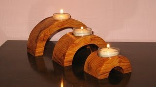 Arch Bridge Candle Holder - Woodworking