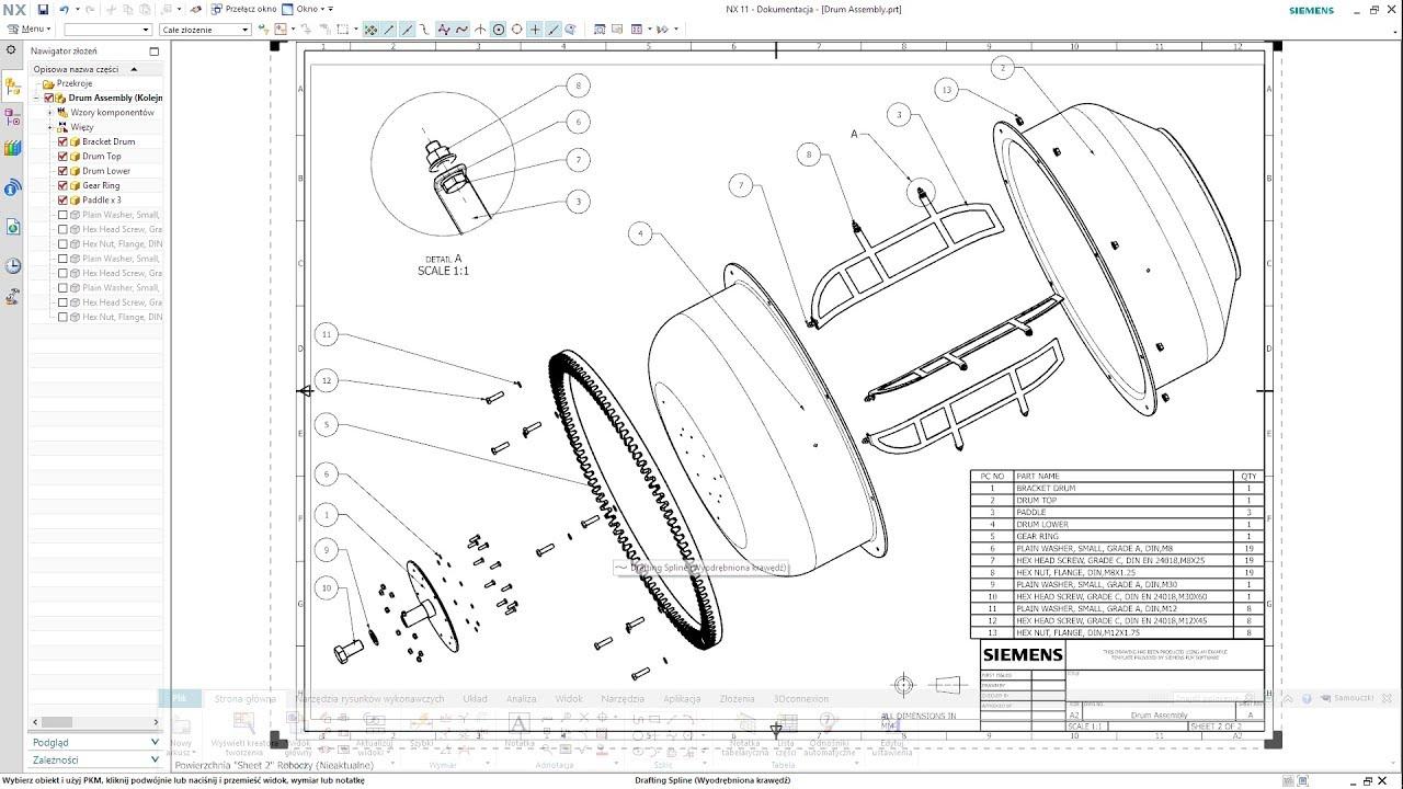 siemens nx 11 drum assembly drawing concrete mixer [ 1280 x 720 Pixel ]