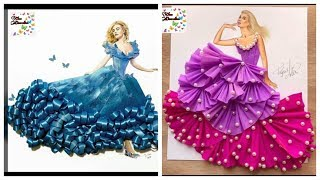 Stylish Dresses Design Sketches For Girls/ Fashion Designing