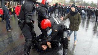 Los ultras del Olympique de Marsella originan una batalla campal en Bilbao.