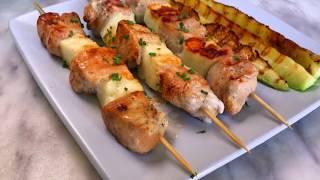 Шашлык из куриного филе и сыра халуми | Куриный шашлычок на сковороде