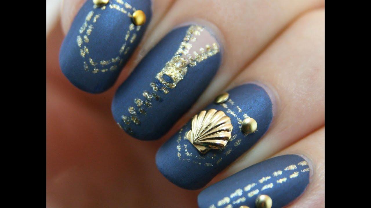 Denim Nail Art Designs - Jeans Nails - YouTube