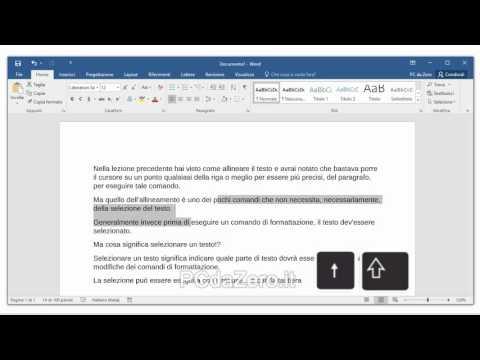 Word 2016 - 10 - Come selezionare il testo con mouse e tastiera