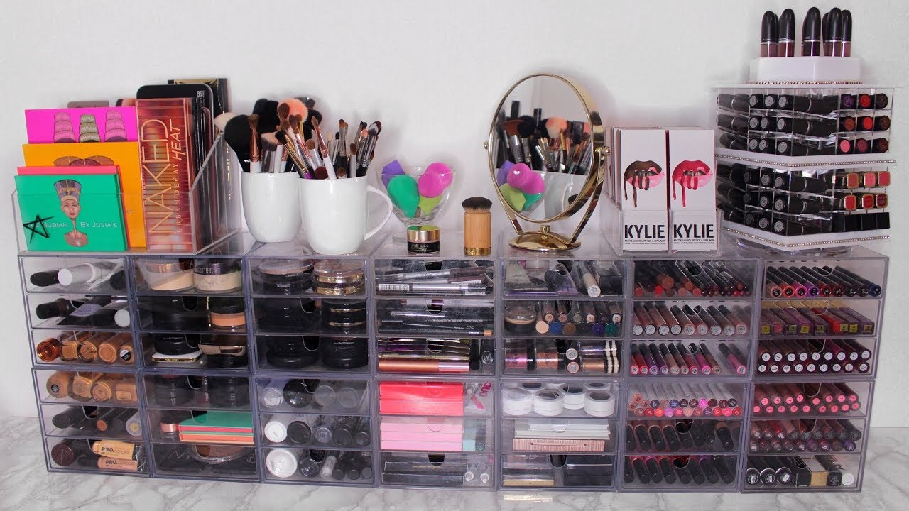 mon rangement maquillage makeup collection janicebeauty youtube. Black Bedroom Furniture Sets. Home Design Ideas