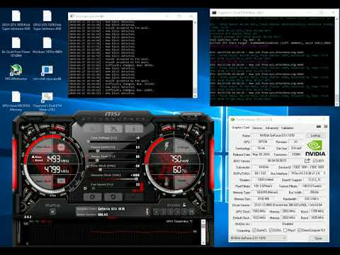 Ethereum Mining With 2 GeForce GTX 1070 68,3 MHs @ 263 Watt Efficient ETH Mining OC Settings