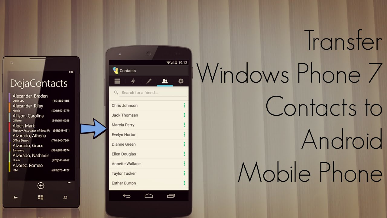 how to export contacts from windows phone 7 to android
