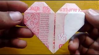 HOW TO MAKE A SIMPLE HEART WITH 20 RS. NOTE FOR YOUR LOVED VALENTINE  | #SuryaCraft