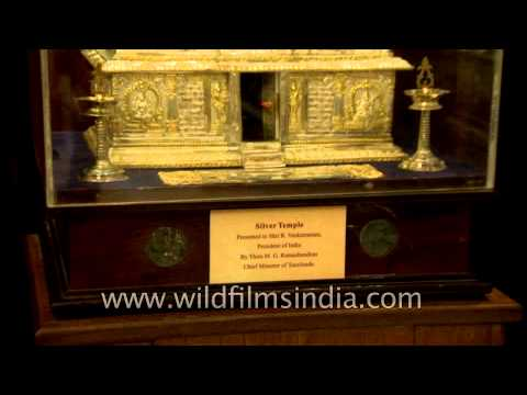 Silver temple presented to President of India by Chief Minister of Tamil Nadu at Gift museum