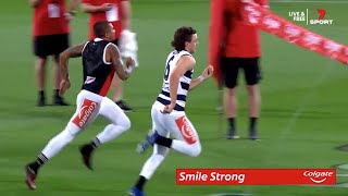 Jordan Clark wins the Colgate AFL Grand Final Sprint   AFL
