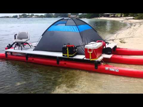21 ft. X 8ft. Wide pontoon that fits in a pick up -- Visit expandacraft.com