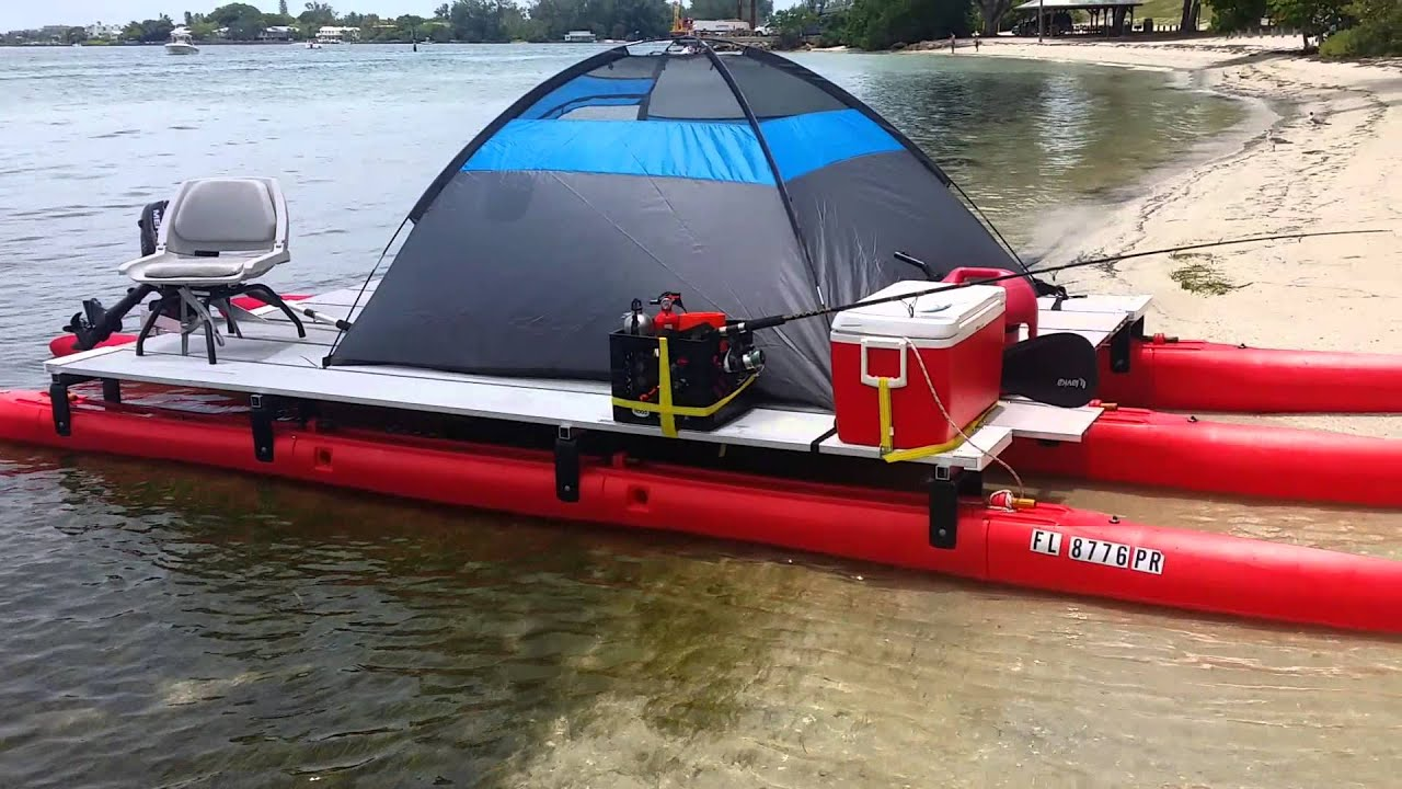 21 ft x 8ft wide pontoon that fits in a pick up visi for Wide fishing kayak