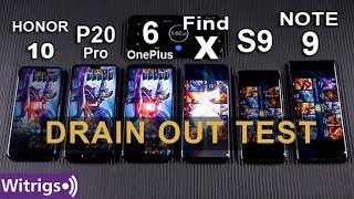 OPPO Find X Super VOOC vs S9 vs Note 9 vs OnePlus 6 vs P20 Pro vs Honor 10 Battery Drain Test