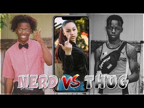 NERD VS. THUG - TROLLING RANDOM GIRLS ONLINE (HILARIOUS)! w/ Bhad Bhabie