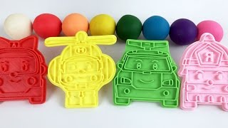 Learn Colors With Play Doh The Super  Robocar Poli Transforming Robots Amber Roy Helly