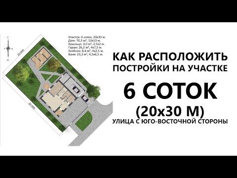 Планировка участка 6 соток и проект дома 10х10 с пристроенным гаражом