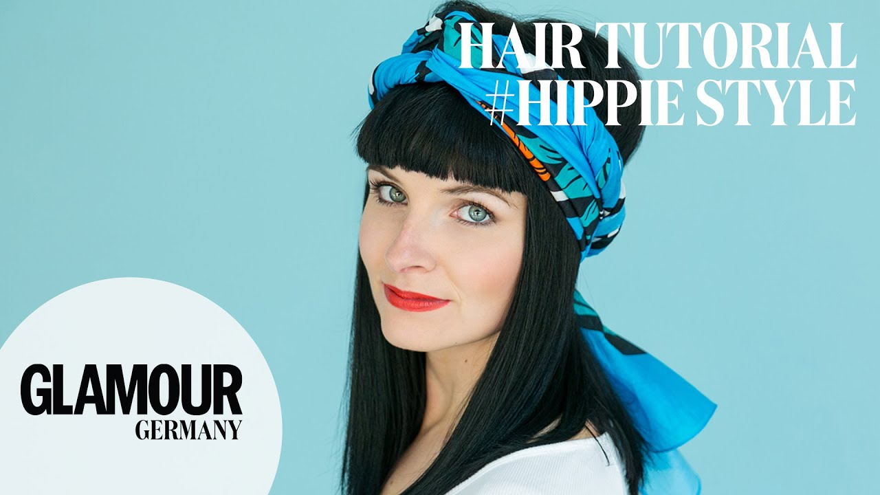 schnell einfach kopftuch binden im hippie vintage style i glamour hair tutorial youtube. Black Bedroom Furniture Sets. Home Design Ideas