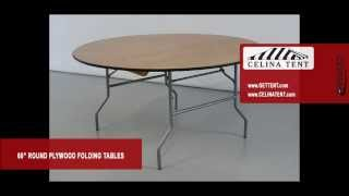 "Round Wood Folding Tables - 60"" / 5' Diameter"
