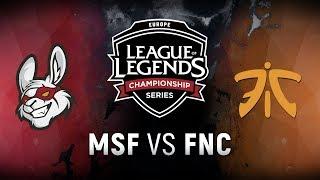 MSF vs. FNC - Week 7 Day 1 | EU LCS Spring Split |  Misfits Gaming vs. Fnatic (2018)