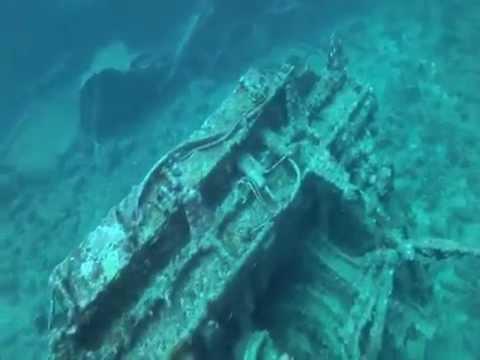 148' feet deep U.S.S. Emmons Wreck SCUBA Dive Okinawa Japan GoPro Hero 2 HD