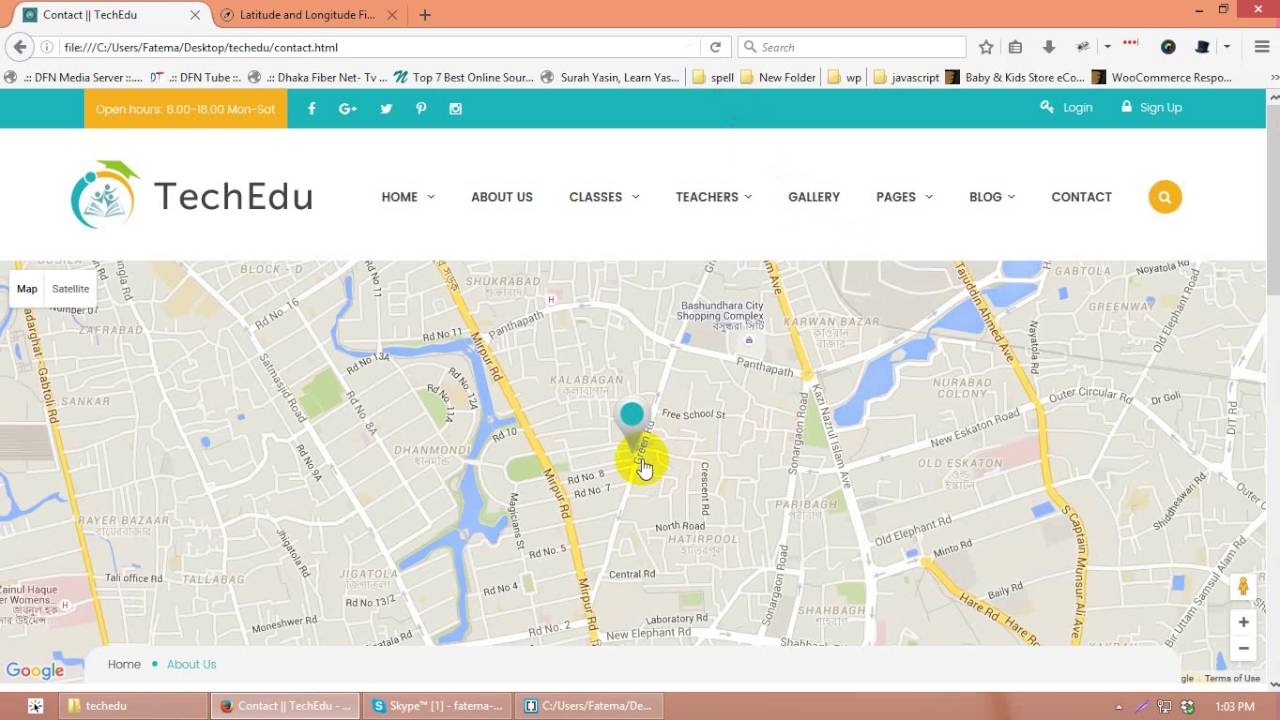 How to change map location in Techedu Education Bootstrap Template