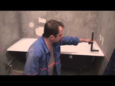Установка ванной. Разметка лазерным уровнем.
