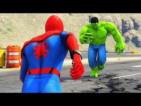 GTA 5 - SUPERHERO vs SUPERHERO! (GTA 5 Spiderman vs Hulk Mod)