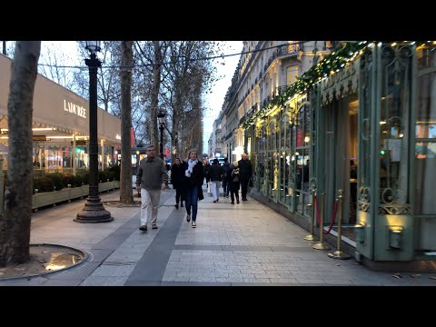 ⌈4κ⌋ Christmas Walk in Paris ������✨ Avenue des Champs-Elysées to Arc de Triomphe