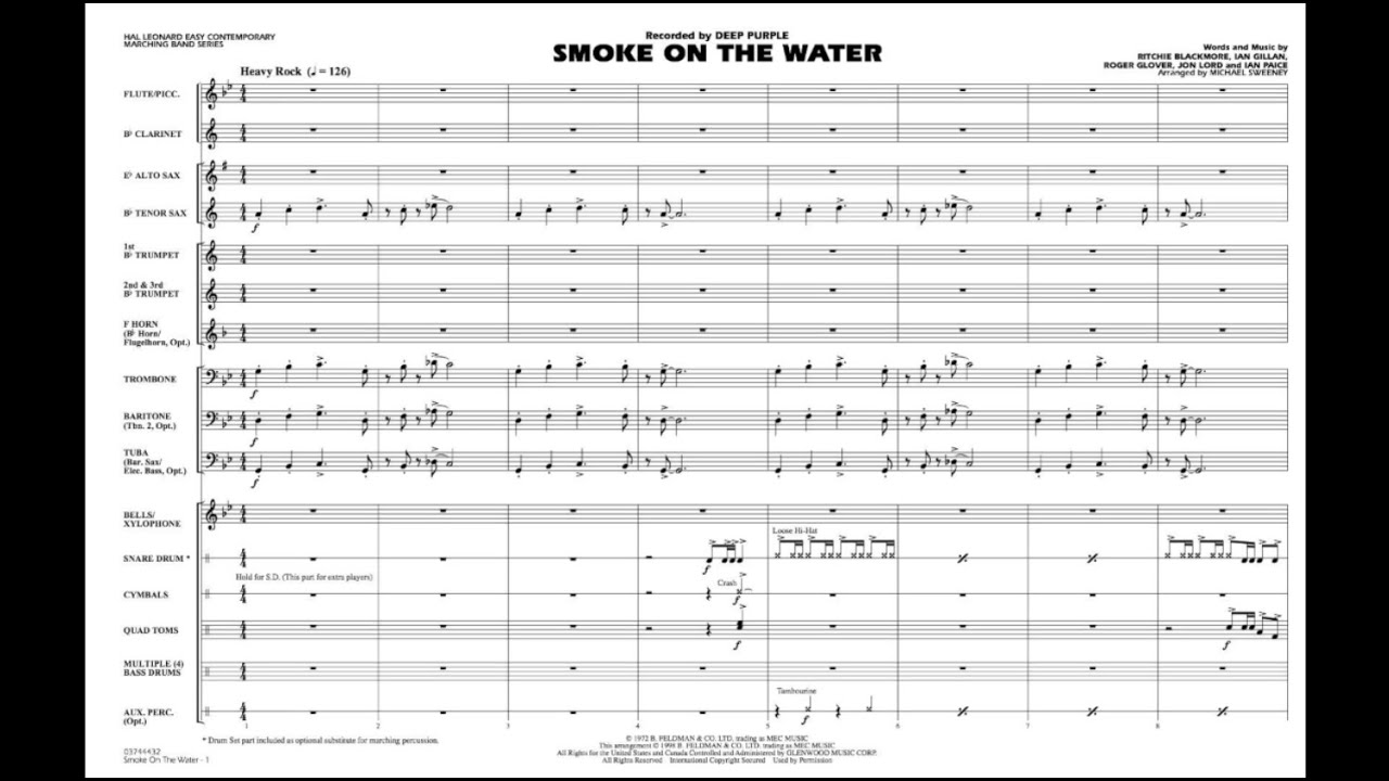 smoke on the water arranged by michael sweeney
