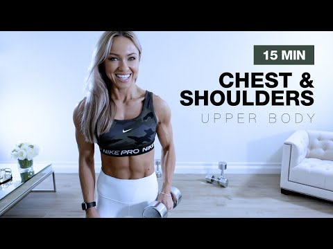 15 MIN CHEST & SHOULDERS WORKOUT at Home | Upper Body with Dumbbells