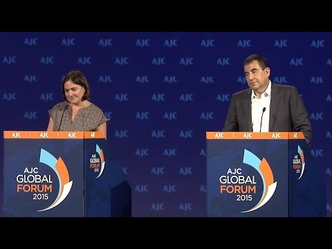 Caroline Glick & Ari Shavit - Peace Process Debate - AJC Global 2015