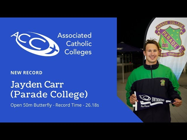 NEW RECORD - Jayden Carr - Open 50m Butterfly