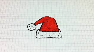 Простые рисунки #159 Шапка деда Мороза =)