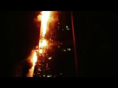 Dubai's Torch Tower skyscraper on fire