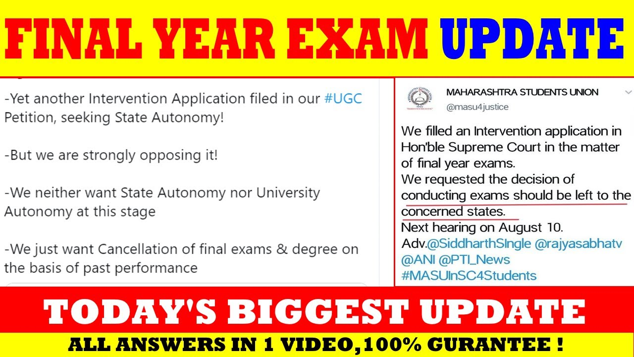 SUPREME COURT FINAL YEAR EXAM TODAY'S BIGGEST UPDATE | UGC | LATEST EXAM UPDATE
