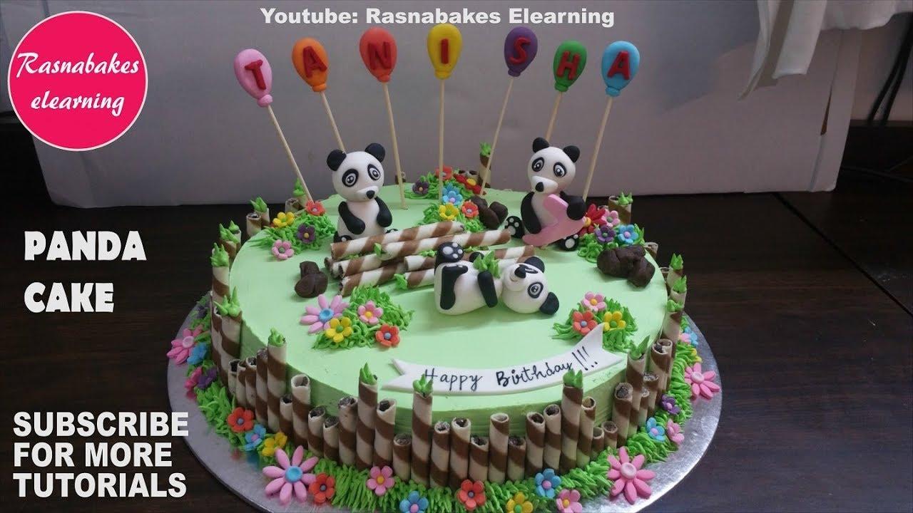 Simple Cute Celebration Panda Birthday Party Cake Design Ideas