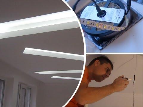 Потолок гипсокартон (ниши) - Монтаж потолка с подсветкой ниш светодиодной лентой