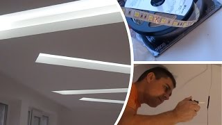 Потолок гипсокартон (ниши) - Монтаж потолока с подсвекой ниш светодиодной лентой(Монтаж потолка из гипсокартона с скрытой подсветкой светодиодной лентой ниш по нашему дизайну. Ремонт..., 2015-11-28T14:00:47.000Z)