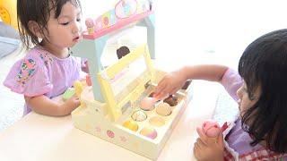 あつい〜!マザーガーデンアイスクリームセットのおもちゃでアイス屋さんごっこ お買い物ごっこ Ice Cream Shop Toys