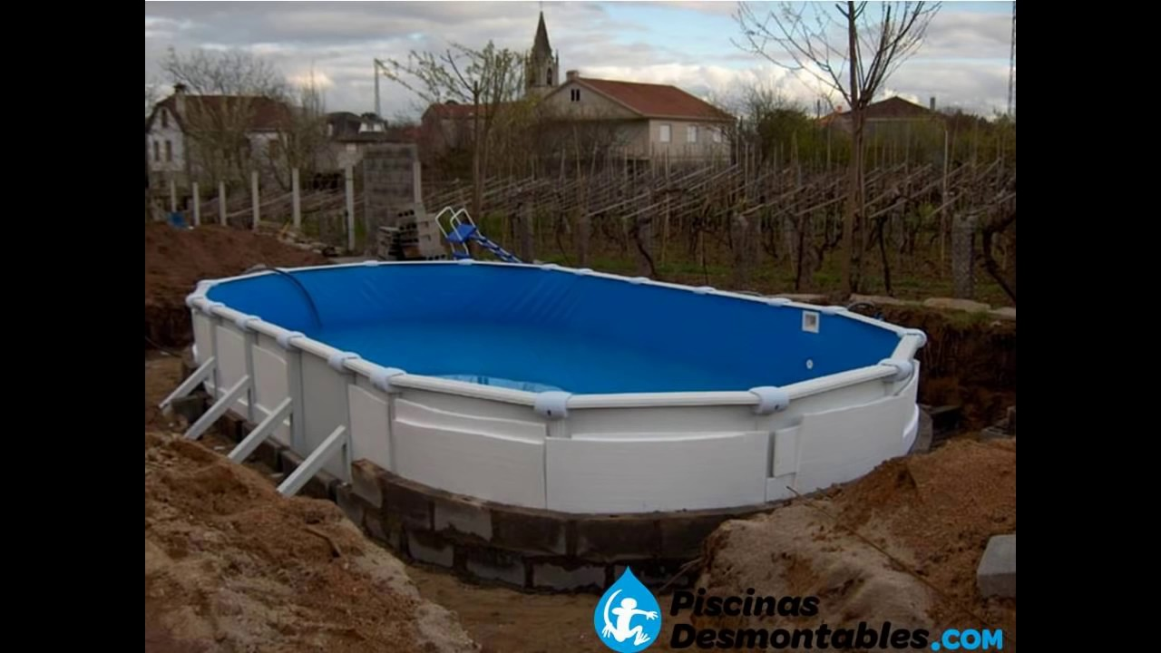 Enterrar piscina desmontable de acero youtube for Materiales para piscinas